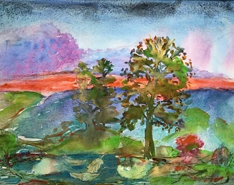 Summer Passing By- Original Watercolor- Imaginary Landscapes - Jane Forth