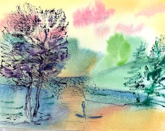 Boatman-Original Painting-Colorful Watercolor -Imaginary Landscapes- Jane Forth
