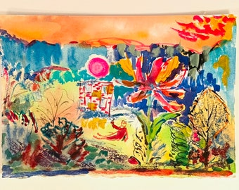 Original Watercolor Landscape Painting-Imaginary Decorative Artwork -Jane Forth