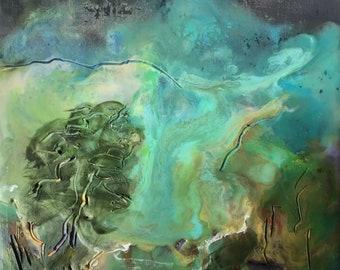 Hunters Moon -Encaustic Landscape-Framed 8x8-inch Painting- Imaginary Landscapes- Jane Forth