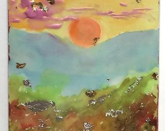 Sunrise-Original Multimedia Landscape Painting-Imaginary Decorative Artwork -Jane Forth