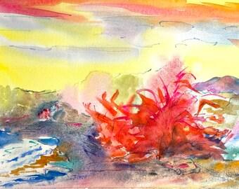 Original Autumn Painting-Colorful Watercolor Landscape - Jane Forth