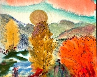 Original Autumn Watercolor Painting -Imaginary Landscapes -Jane Forth