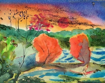 Original Multi-media Landscape- Colorful Encaustic- Small artworks- Imaginary Landscapes- Jane Forth