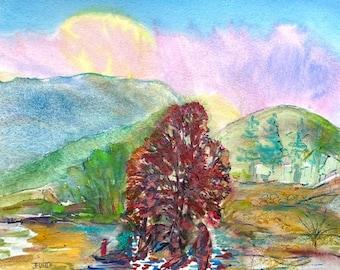 Autumn Painting- Original Colorful Watercolor- Figurative Landscape - Jane Forth