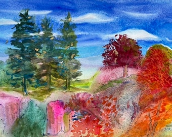 Tree Painting- Original Colorful Watercolor- Figurative Landscape - Jane Forth