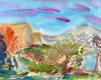 Original Watercolor Painting- Colorful Landscape -Imaginary Decorative Art-Jane Forth