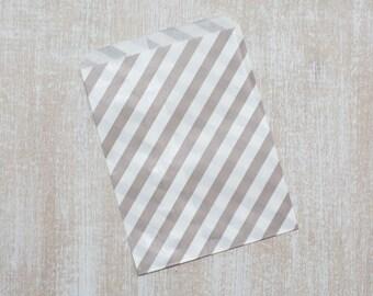 10 paper bags grey stripes