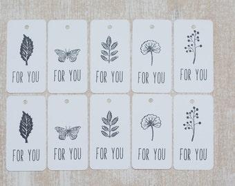 "10 handgefertigte Tag ""For you"""