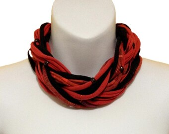Multi Strand Beaded Choker Scarf Necklace Red & Black