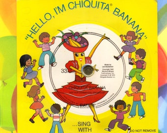 Advertising, 1976, Chiquita Banana, Evatone Flexi Disc Promo Record, Cardboard Record, Music by Len Mackenzie, Advertising Collectible