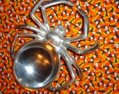HALLOWEEN, One, Spider Bowl, Figural, Stylized, Chrome Plated, Metal, Shiny, Shallow, Unusual, Creepy, Explore Now!, embrace123