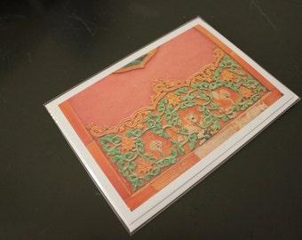 "Blank Greeting Card, 7"" x 5"", 'Orange and Green'"