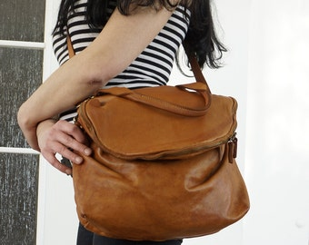 Tan Washed Leather Bag, Tan Washed Leather Handbag, Washed Leather Shoulder Bag, Leather Crossbody Bag Purse, Leather Messenger, Leather Bag