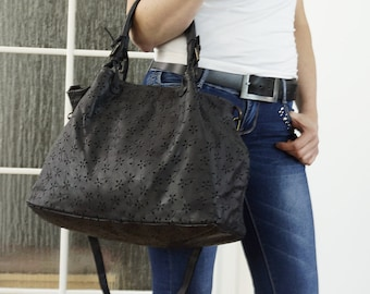 Washed Distressed Leather Bag, Washed Leather Handbag, Washed Leather Messenger, Leather Crossbody bag, Washed Leather Purse - black!