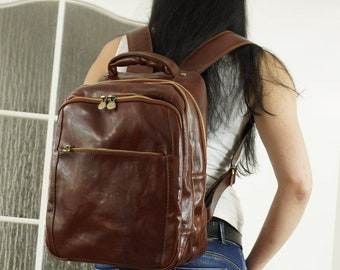 Brown Leather Backpack, Leather Travel Bag, Brown Leather Bag
