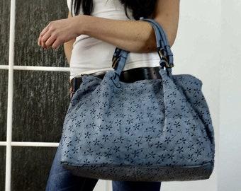 Light Blue Leather Tote--Bag - Handbag - Julia xl