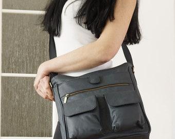 "Dark Navy Leather Messenger Bag, Leather Cross-body Purse, Leather Handbag, Iris fits a 11"" laptop & ipad"