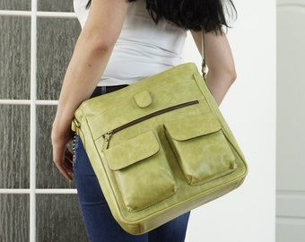 Apple Green Leather Messenger Bag, Leather Messenger, Ipad Messenger, Laptop Messenger, Crossbody Messenger, Leather Messenger Bag, Iris!