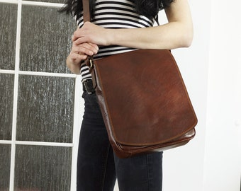 Brown Leather Messenger, Leather Crossbody Bag, Leather Laptop Bag, Leather Laptop Bag, Leather Messenger Bag fits a 13 in 11 in laptop iPad