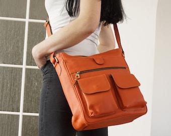 Orange Leather MESSENGER Bag Leather Purse, Leather Crossbody Bag, Leather Messenger Bag Leather, ipad messenger bag, laptop messenger, Iris