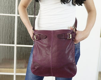 Leather Messenger Bag, Leather bag women, Leather Crossbody bag, Leather Handbag, Leather Purse, Leather Shoulder bag woman, Deep Purple!