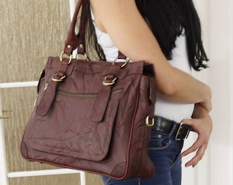 Leather Tote Rina.Leather tote bag, Distressed Leather Tote, Tote Bag, Tote Bag Brown Leather Tote, Large Tote Bag Leather Tote Leather tote