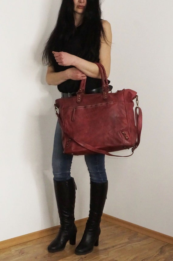 Red Personalized Leather Tote Bag, Leather Handbag