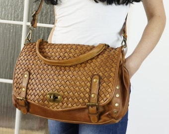 Washed woven leather purse, Washed woven leather handbag, Washed woven leather cross-body bag, Washed Woven bag Messenger, antique tan
