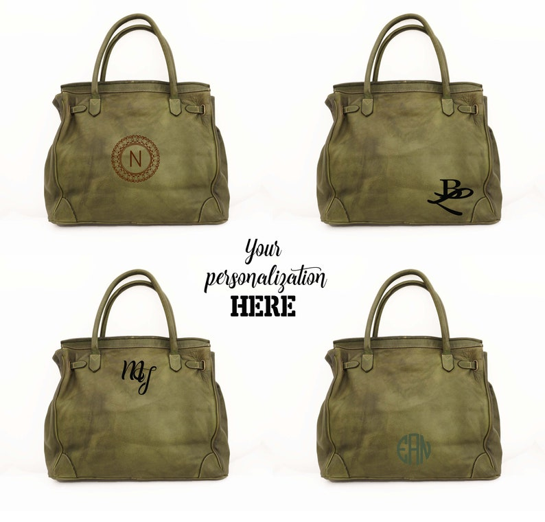 PERSONALIZED Italian Woven Leather Tote Green Woven Leather Tote Bag KAPLAN Italian Leather Handbag Italian Leather Tote Bag Women