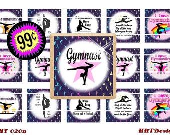 """Gymnastics Tile ( 1"""" x 1"""" ) Instant Download ~ 1 set of 15 1"""" square images ~ (SCHT 020n)"""