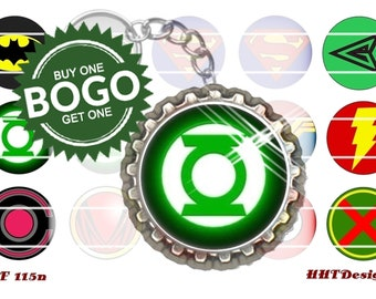 "Super Heros ~ Instant Download ~ BOGO ~ 2 Sets of 15 1"" (25mm) Bottle Cap images (CF 029n & CF 115n)"