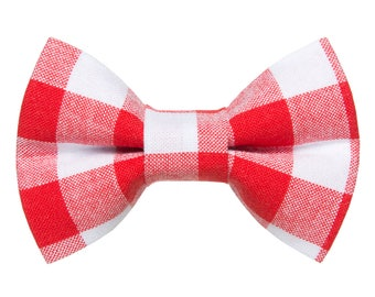 """Cat Bow Tie - """"The Brunch at Pickles'"""" - Red + White Plaid"""