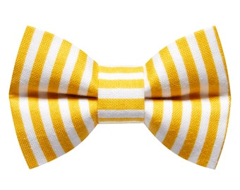 """Cat Bow Tie - """"The Dolce and Cabana"""" - Yellow Mustard Stripe"""