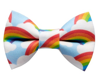 """Cat Bow Tie - """"The Bright Side"""" - Rainbow Print"""