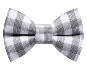 """Cat Bow Tie - """"The Checkered Past"""" - Gray Gingham"""