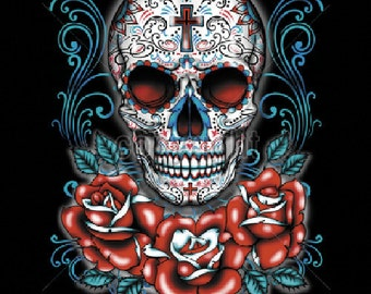 Sugar Skull with Red Roses Day of the Dead Womens LONG SLEEVE Black T Shirt  17045