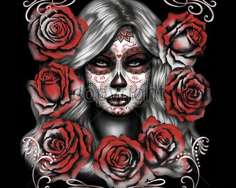 Girl Sugar Skull With Red Roses Day of the Dead Womens LONG SLEEVE Black T Shirt  17043