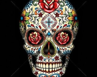 Sugar Skull with Red Roses Day of the Dead Womens LONG SLEEVE Black T Shirt  16553
