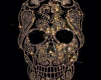 Gold Rhinestuds Day of the Dead Sugar Skull Womens SHORT SLEEVE T Shirt 15490
