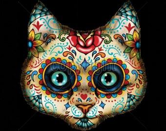 Sugar Skull Cat  Day of the Dead WOMENS Short Sleeve Shirt 17020