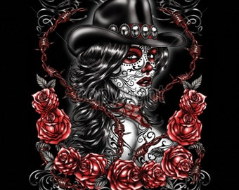 Cowgirl Sugar Skull Day of the Dead WOMENS Short Sleeve T Shirt 18362