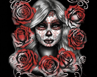 Sugar Skull Girl With Red Roses Day of the Dead WOMENS Short Sleeve T Shirt  17043