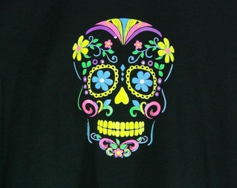 Womens LONG SLEEVE Black T Shirt Day of the Dead Neon Sugar Skull  18309