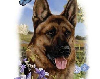 German Shepherd Flower Dog Womens Short Sleeve T Shirt 15025HL4