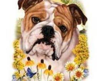 Bulldog Flower Dog Womens Short Sleeve T Shirt 15029HL4