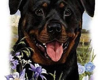 Rottweiler Flower Dog Womens Short Sleeve T Shirt 15019HL4