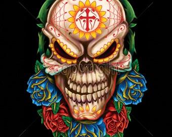 Evil Sugar Skull Day of the Dead WOMENS Short Sleeve T Shirt 17565