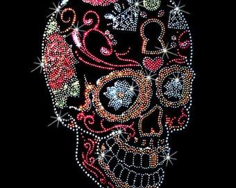 Side View Sugar Skull Rhinestones Studs Day of the Dead Womens LONG SLEEVE T Shirt 15464