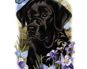 Black Lab Flower Dog Womens Short Sleeve T Shirt 15013HL4
